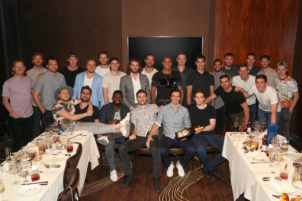 The Vegas Golden Knights celebrate the end of their season at Scotch 80 Prime at Palms on Thurs ...