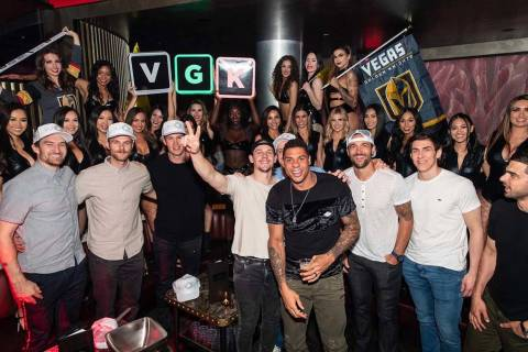 Members of the Vegas Golden Knights are shown celebrating at their season-ending party at Kaos ...