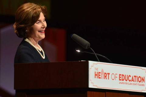 Former first lady Laura Bush speaks during the Heart of Education Awards for Clark County Teach ...
