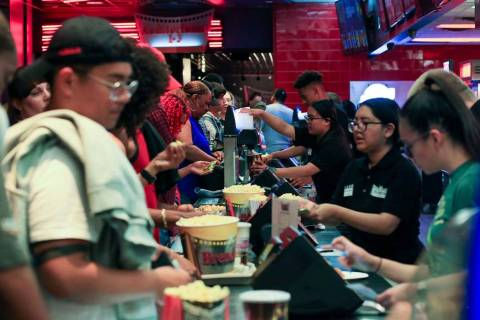 Movie goers get their concession fix before first showing of Avengers: Endgame at Brenden Theat ...