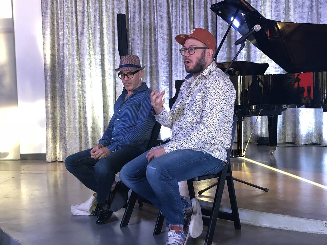 """27"" composer Ricky Ian Gordon and librettist Royce Vavrek at a salon at Stinko's in Las Vegas. ..."