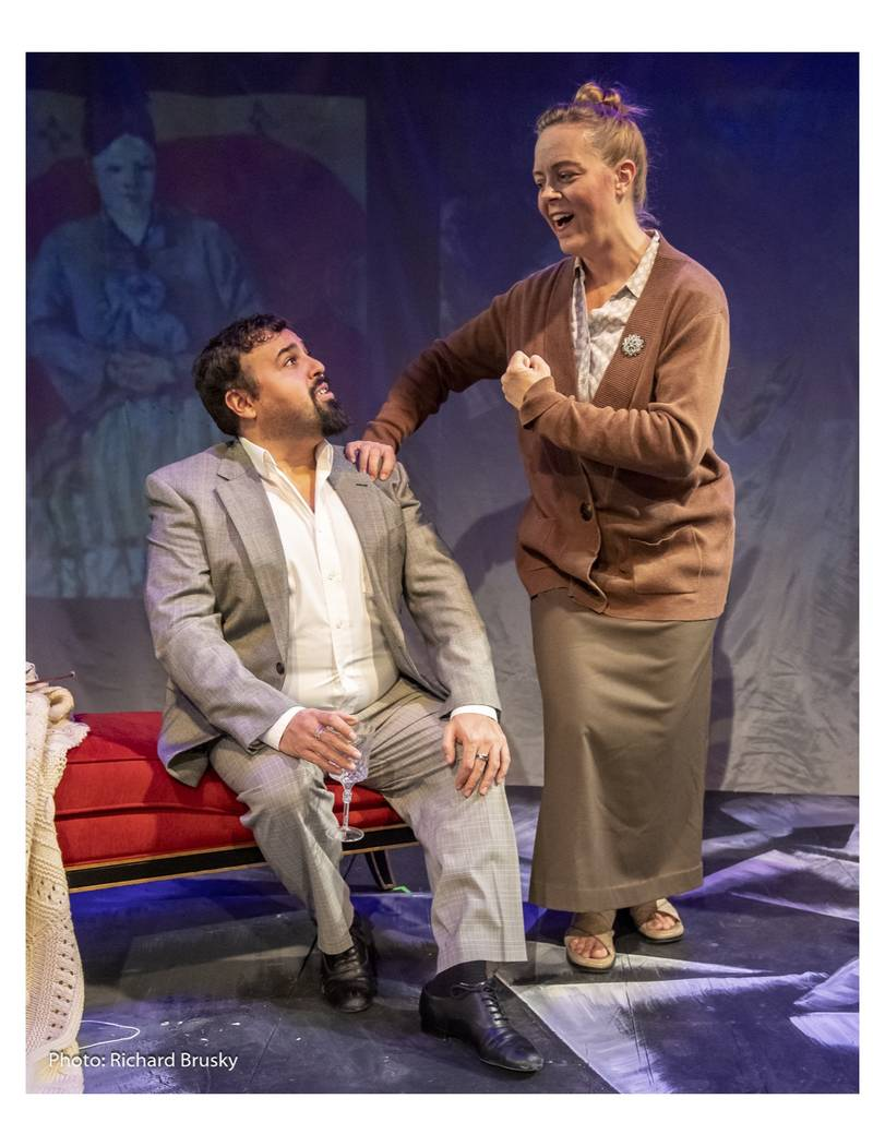 "Picasso (Jorge Ortiz) and Gertrude Stein (Kimberly Gratland James) in ""27"" at Cockroach Theatre ..."