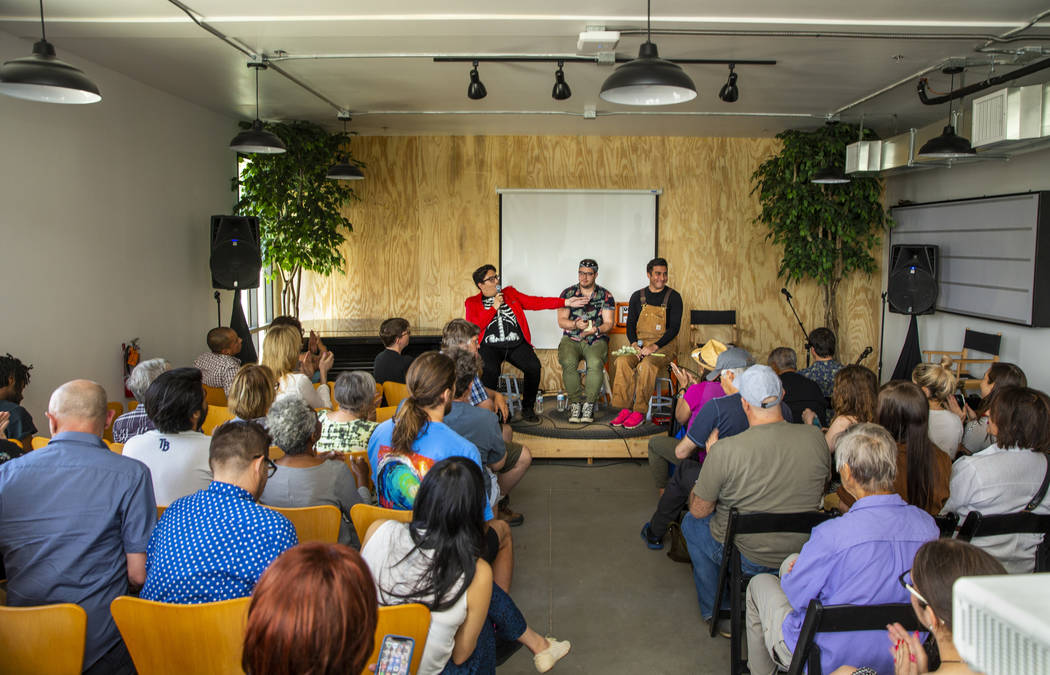 Artists Justin Favela, Francisco Donoso and Ramiro Gomez speak during the Believer Festival, a ...