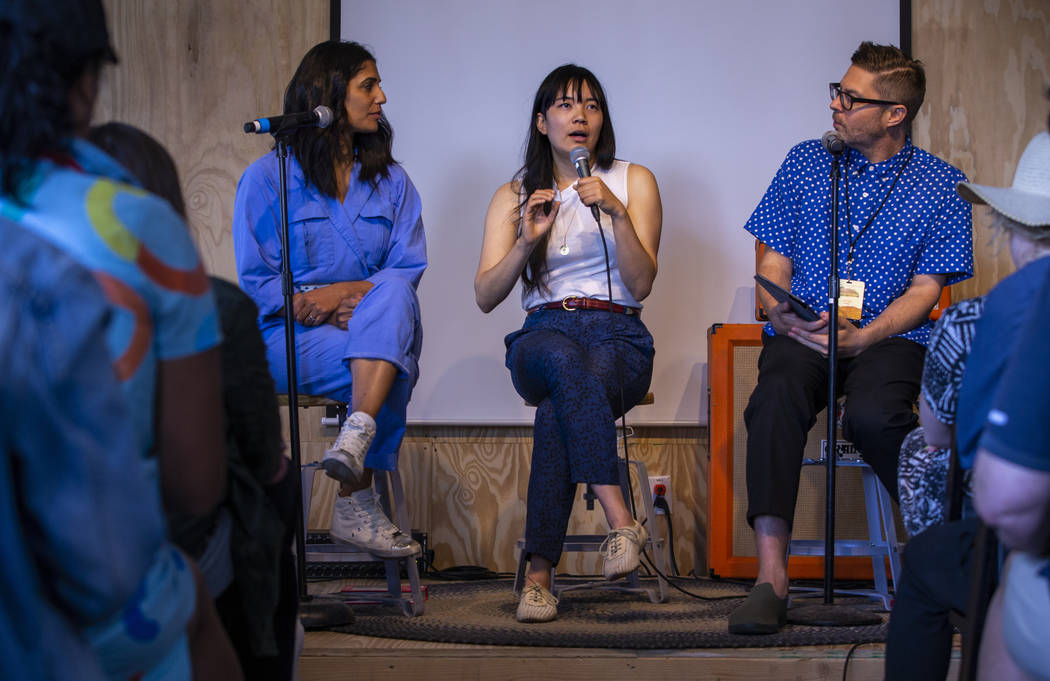 """Author Mira Jacob, singer Thao Nguyen and author Josh Kun interact in their """"Crossfire Lab ..."""