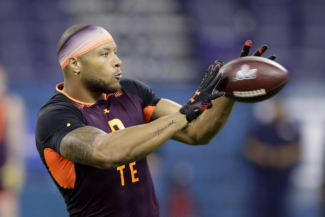 Notre Dame tight end Alize Mack runs a drill during the NFL football scouting combine, Saturday ...
