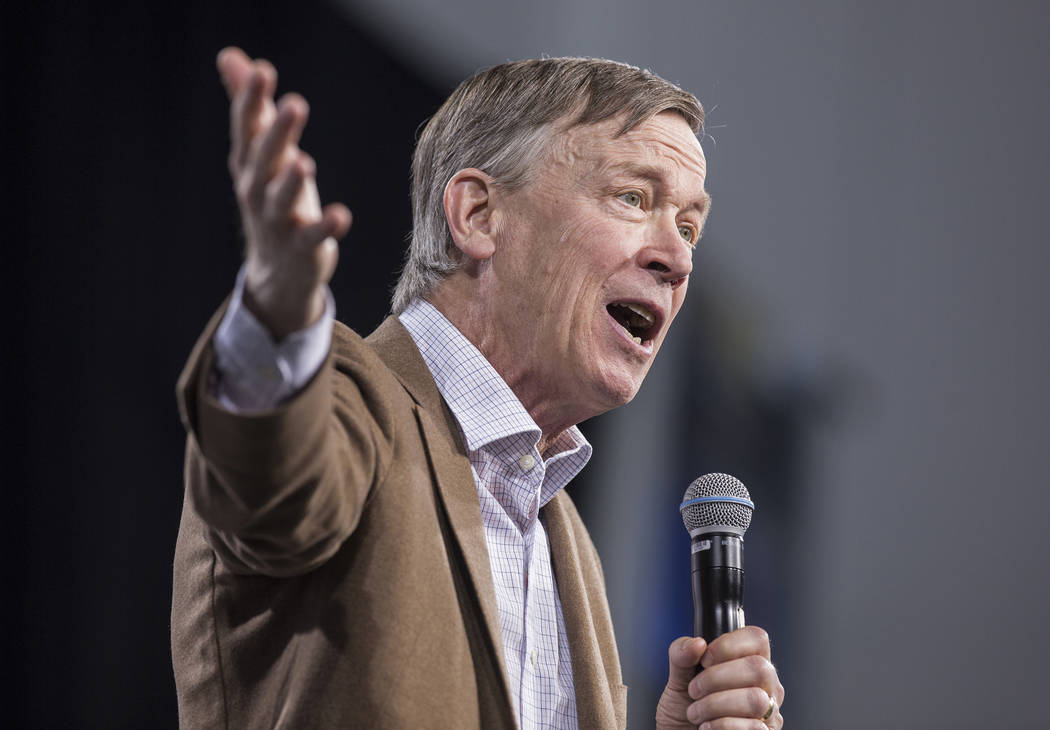 Democratic presidential candidate and former governor of Colorado John Hickenlooper speaks duri ...