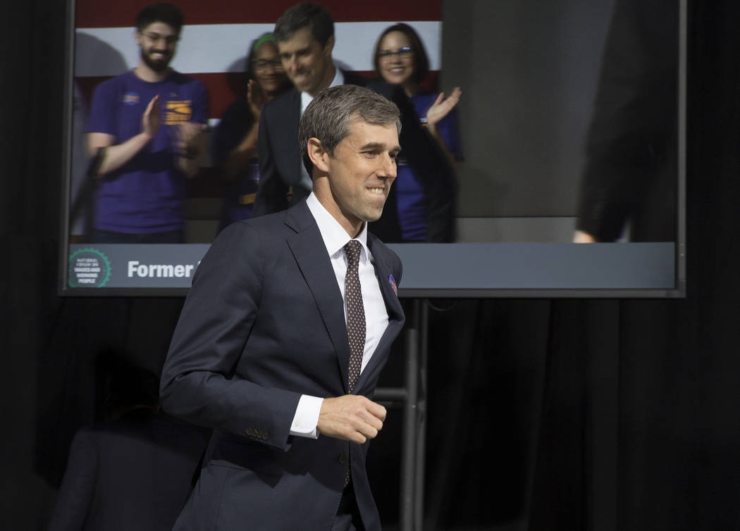 Presidential candidate and former Texas congressman Beto O'Rourke walks on stage during &#x201c ...