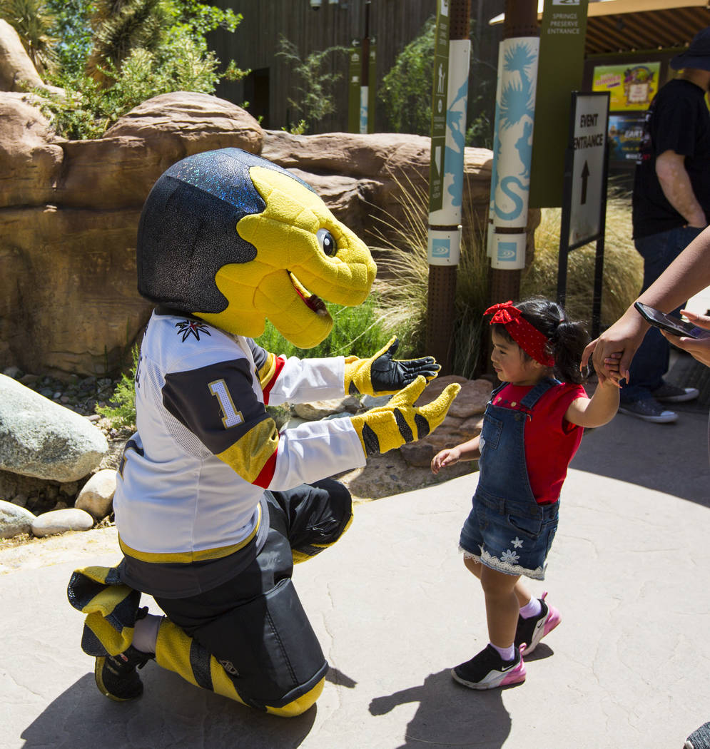 Two-year-old Noemi Ha, of Las Vegas, greets Golden Knights mascot Chance during the 10th annual ...