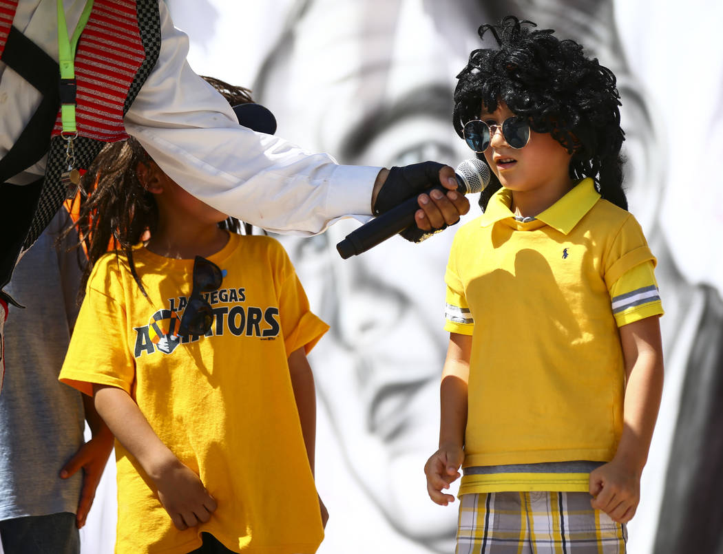 Five-year-old Christopher Villegas, of Las Vegas, answers a question during the 10th annual Dia ...