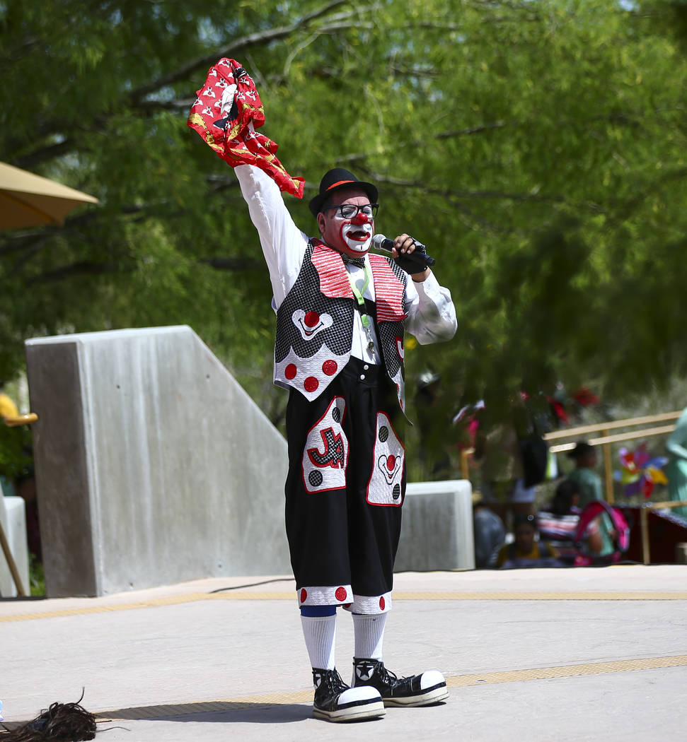 Chirolito the clown performs during the 10th annual Dia del Nino event at the Springs Preserve ...