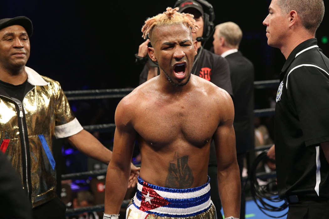 Rances Barthelemy reacts after his split decision draw against Robert Easter Jr. in the WBA lig ...