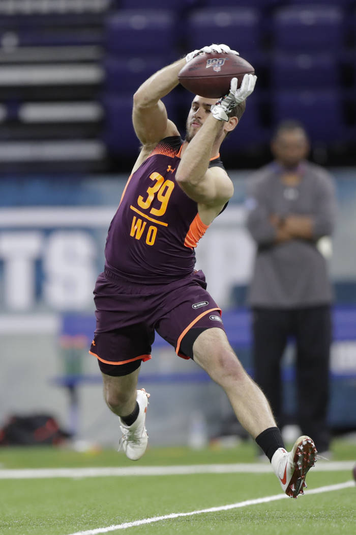 Clemson wide receiver Hunter Renfrow runs a drill at the NFL football scouting combine in India ...