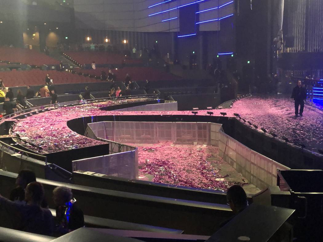 """Confetti is shown on the Zappos Theater stage after the Backstreet Boys' final """"Larger Than Lif ..."""