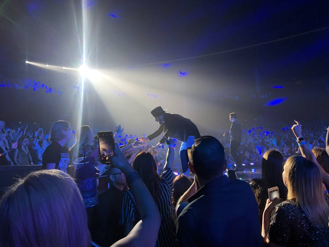 """A.J. McLean is shown at the Backstreet Boys' final """"Larger Than Life"""" residency show at Zappos ..."""