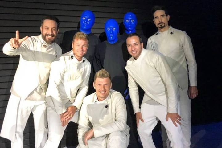 Blue Man Group and the Backstreet Boys are shown at Zappos Theater at Planet Hollywood on Satur ...