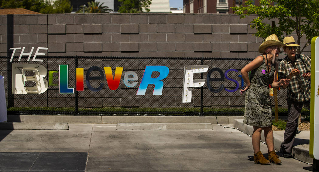Artist Jo Russ chats with artist Diane Bush during the Believer Festival, a three-day literary/ ...