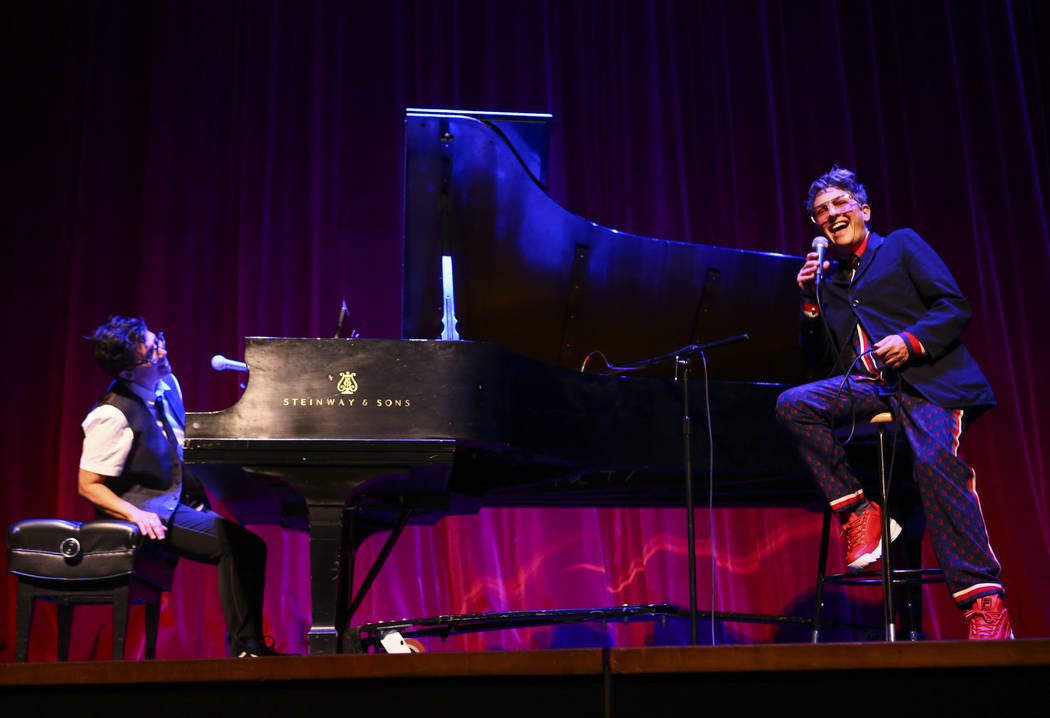 """Faith Soloway, left, and Jill Soloway perform during """"UPROAR,"""" the finale event of th ..."""