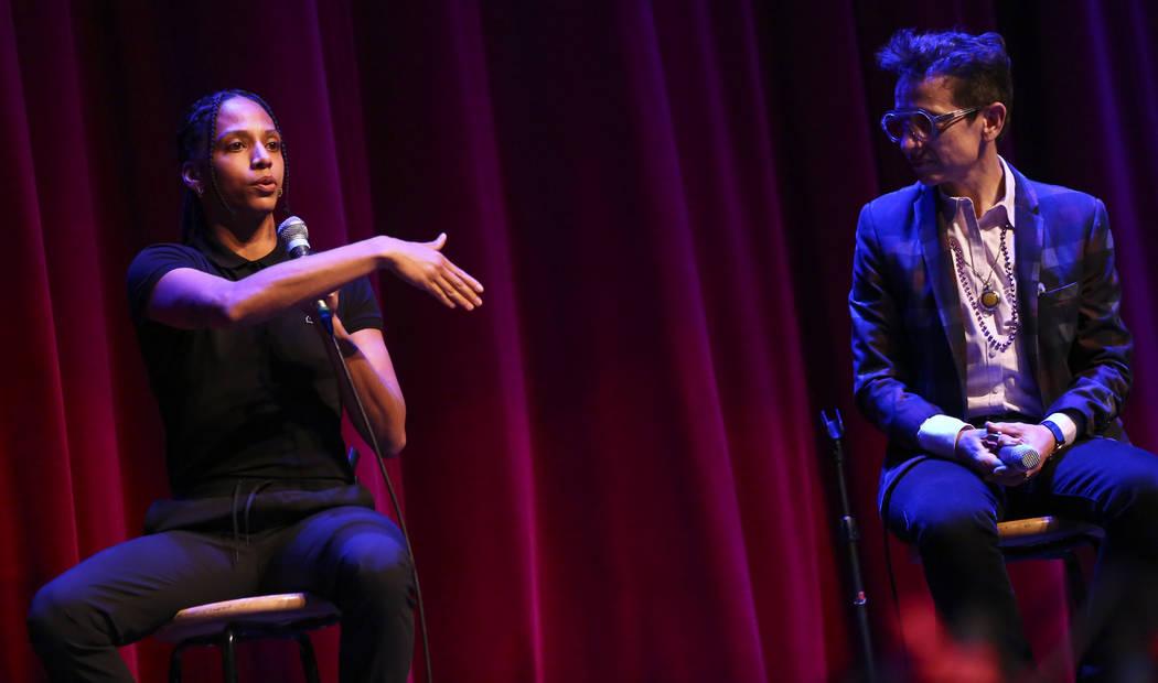 Janaya Khan, co-founder of Black Lives Matter Canada, left, speaks alongside Masha Gessen, staf ...
