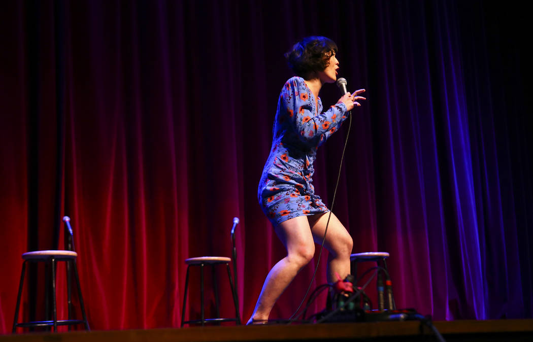 """Comedian Atsuko Okatsuka performs during """"UPROAR,"""" the finale event of the Believer Festival, a ..."""