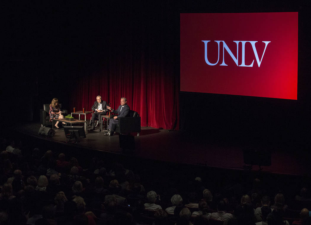 Former U.S. Vice President Al Gore, top/right, discusses climate change with former Sen. Harry ...
