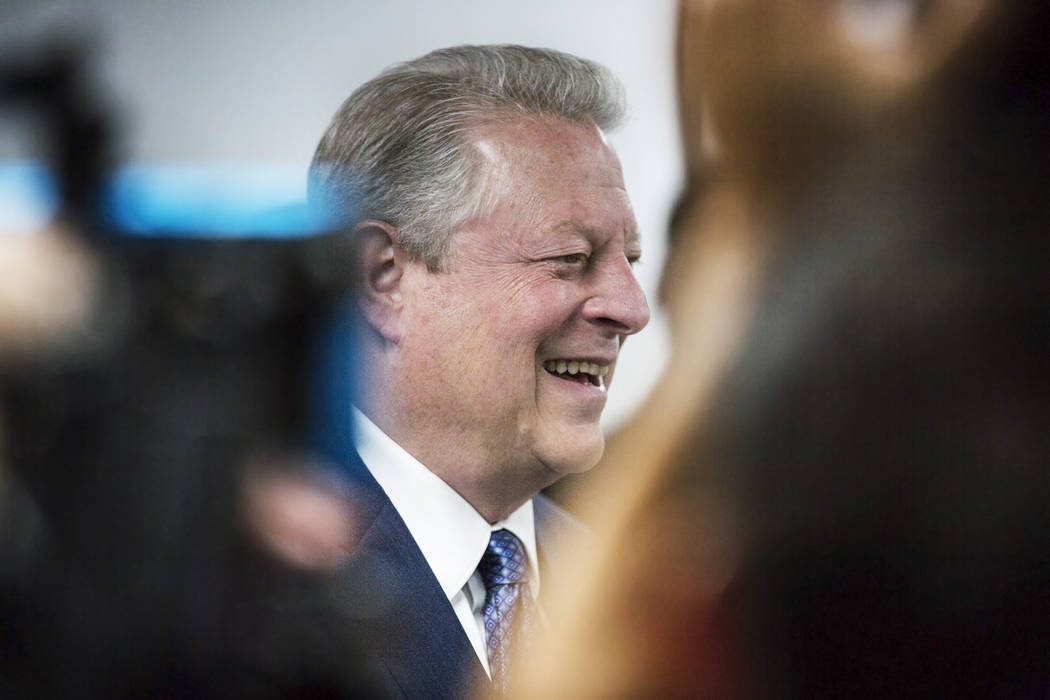 Former U.S. Vice President Al Gore addresses the media after meeting with UNLV's solar decathlo ...