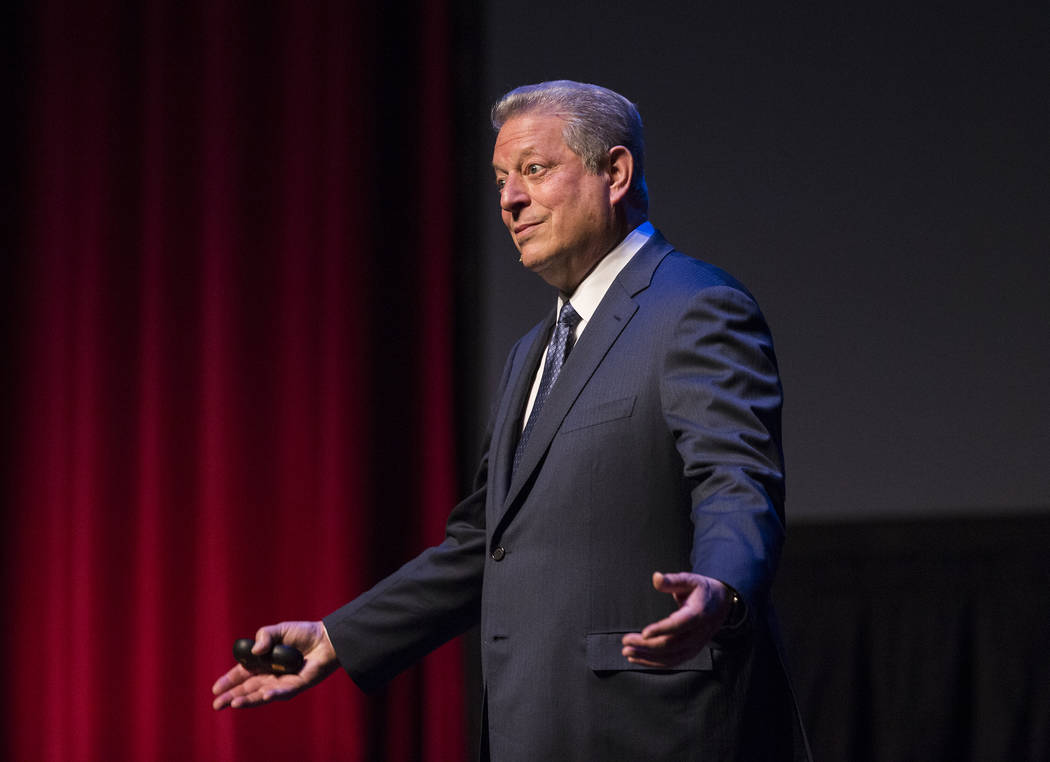 Former U.S. Vice President Al Gore discusses climate change on Tuesday, April 30, 2019, at UNLV ...