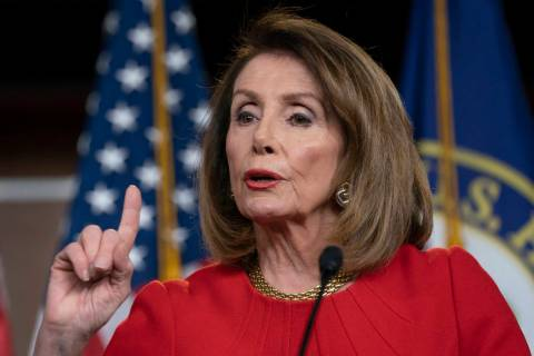 Speaker of the House Nancy Pelosi, D-Calif., speaks April 4, 2019, during a news conference on ...