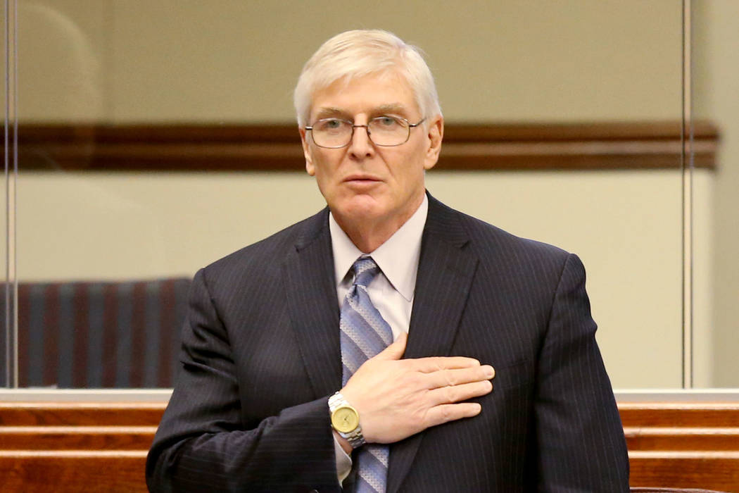 Assemblyman Skip Daly, D-Sparks, recites the Pledge of Allegiance during a floor session in the ...