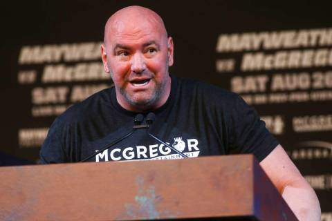 UFC President Dana White during the final press conference ahead of the fight featuring Floyd M ...