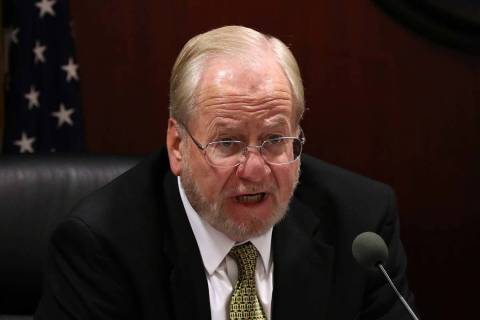 Nevada Gaming Commissioner Philip M. Pro speaks during a commission meeting, Feb. 26, 2019, in ...