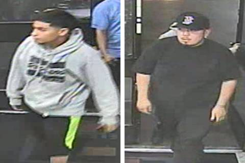 Police are searching for two men suspected in a robbery Sunday, April 28, 2019, on the 1700 blo ...