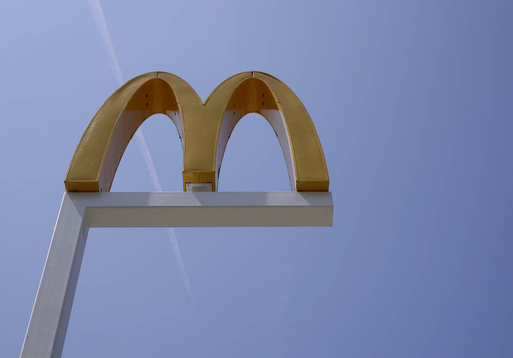 FILE- This Aug. 8, 2018, file photo shows the logo of McDonald's at a restaurant in Chicago. Mc ...
