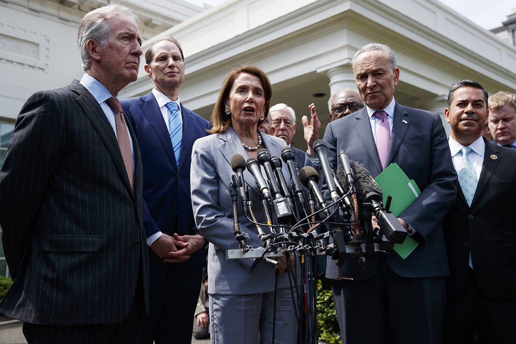 Speaker of the House Nancy Pelosi of Calif., talks with reporters after meeting with President ...