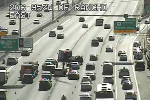 Crash on U.S. Highway 95 at Rancho Drive, Tuesday, April 30, 2019. (RTC Traffic Cameras)