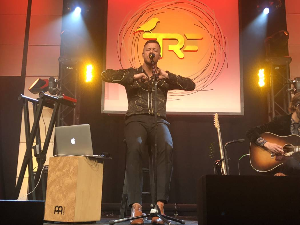 Dan Reynolds of Imagine Dragons is shown at the Tyler Robinson Foundation Rise Up Gala at Caesa ...