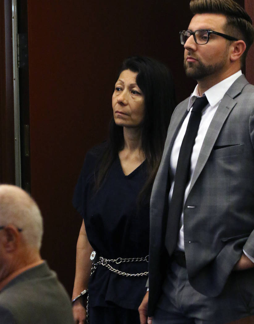 Former Las Vegas police officer Pamela Bordeaux appears in court with her attorney Michael Horv ...