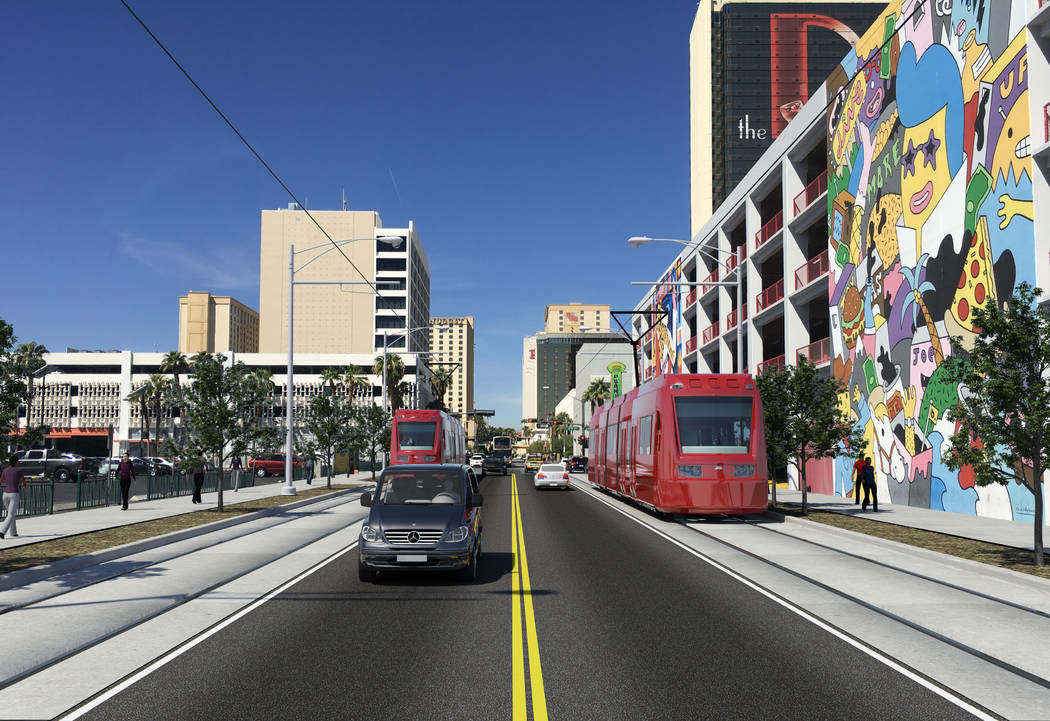 Rendering of what the light rail could look like traveling in Downtown Las Vegas on Carson Aven ...