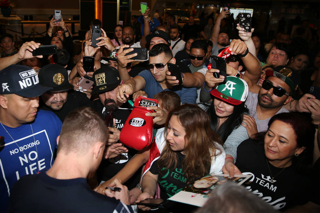 """Saul """"Canelo"""" Alvarez greets fans during his grand arrival at MGM Grand hotel-casino ..."""