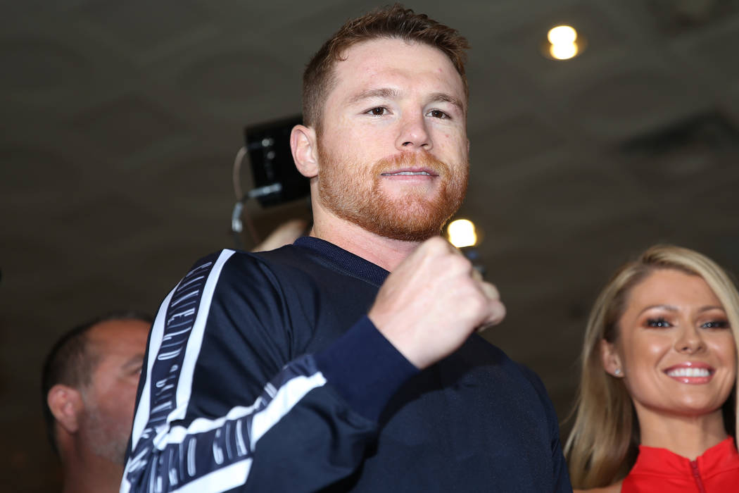 """Saul """"Canelo"""" Alvarez is photographed on stage during his grand arrival at MGM Grand ..."""