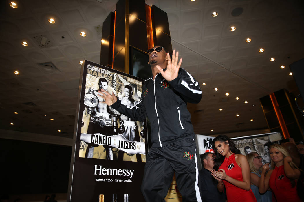 Daniel Jacobs makes his grand arrival at MGM Grand hotel-casino in Las Vegas, Tuesday, April 30 ...