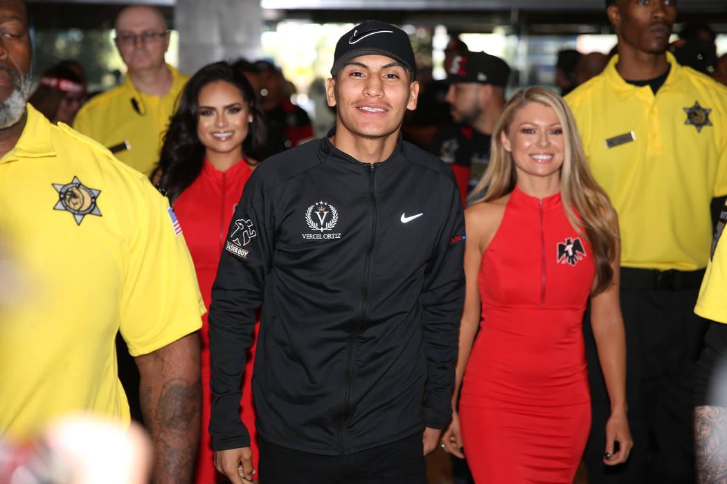 Vergil Ortiz Jr. makes his grand arrival at MGM Grand hotel-casino in Las Vegas, Tuesday, April ...