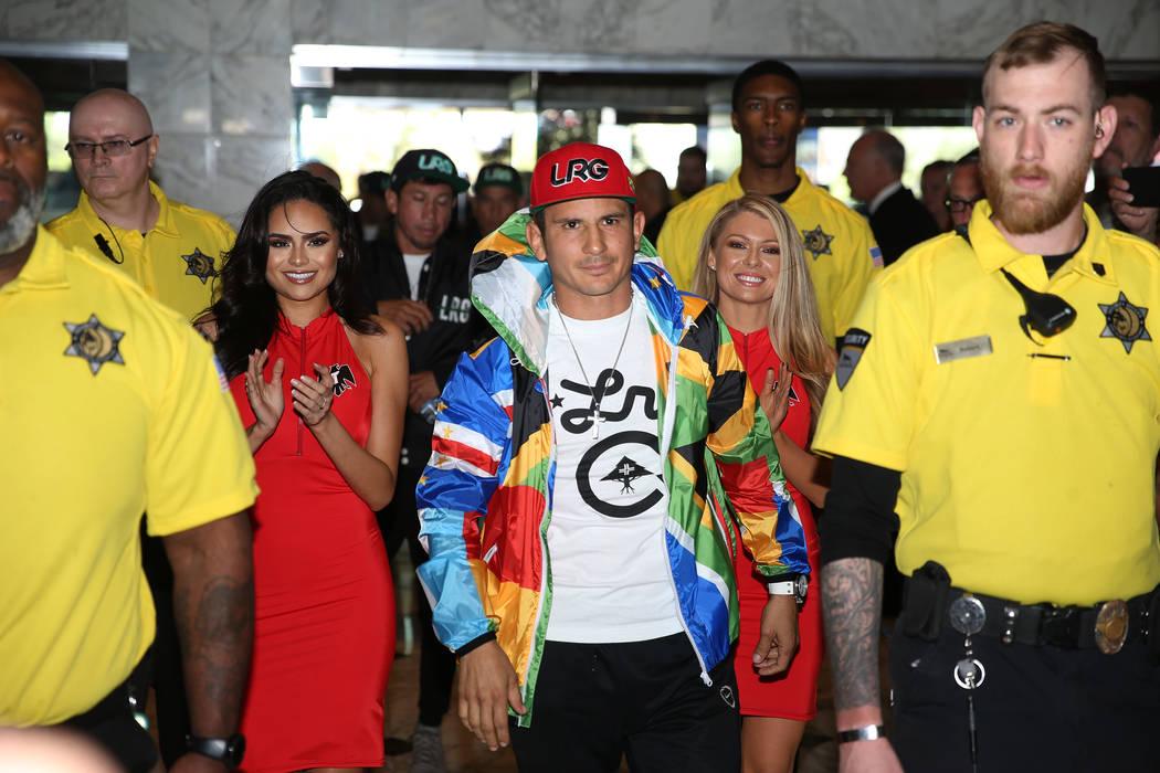 Mauricio Herrera makes his grand arrival at MGM Grand hotel-casino in Las Vegas, Tuesday, April ...