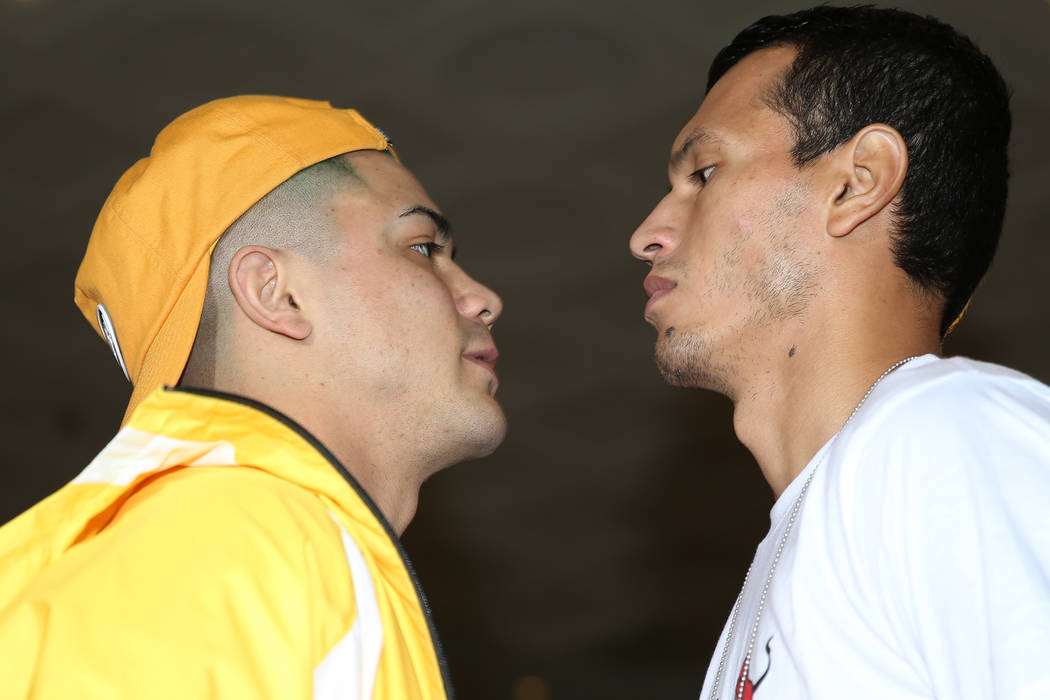Joseph Diaz Jr., left, and Freddy Fonseca pose during their grand arrival at MGM Grand hotel-ca ...