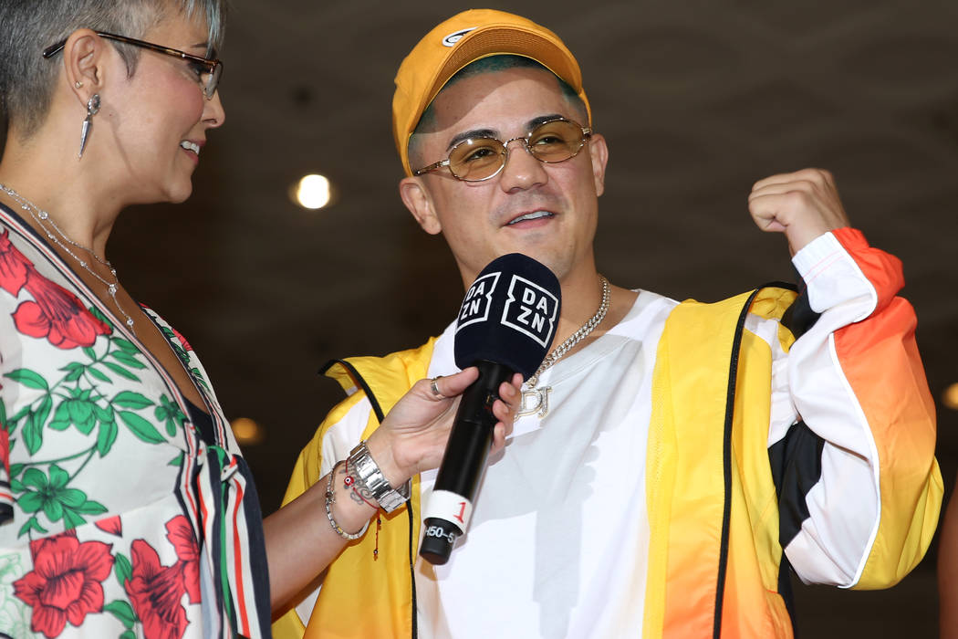 Joseph Diaz Jr. is interviewed during his grand arrival at MGM Grand hotel-casino in Las Vegas, ...