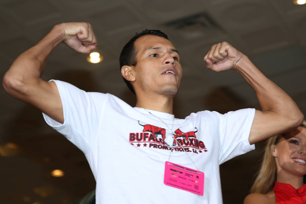 Freddy Fonseca makes his grand arrival at MGM Grand hotel-casino in Las Vegas, Tuesday, April 3 ...
