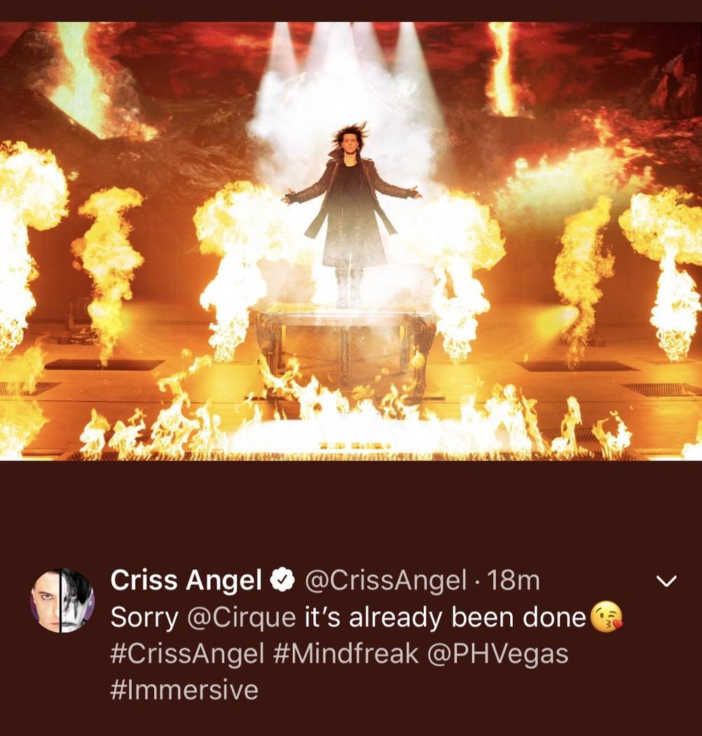 Criss Angel's Twitter and Instagram message Tuesday to Cirque du Soleil, which was his producti ...