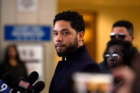 This March 26, 2019 file photo shows actor Jussie Smollett before leaving Cook County Court aft ...