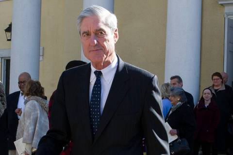 FILE - In this March 24, 2019, file photo, special counsel Robert Mueller departs St. John's Ep ...
