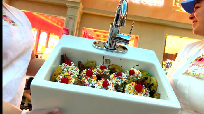 Las Vegas ice cream shop offers everything in the kitchen sink ... on the floor ice cream, the kitchen sink cookies, the kitchen sink disney, the kitchen sink pizza, the kitchen sink dessert, the kitchen sink spaghetti, the kitchen sink ben & jerry's, the kitchen sink restaurant, kitchen sink jaxson's ice cream,