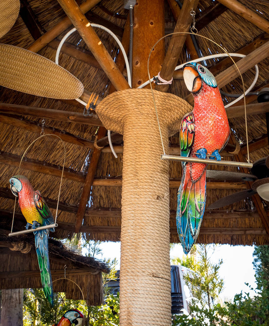 This outdoor bar feature large bird decorations. (Tonya Harvey Real Estate Millions)